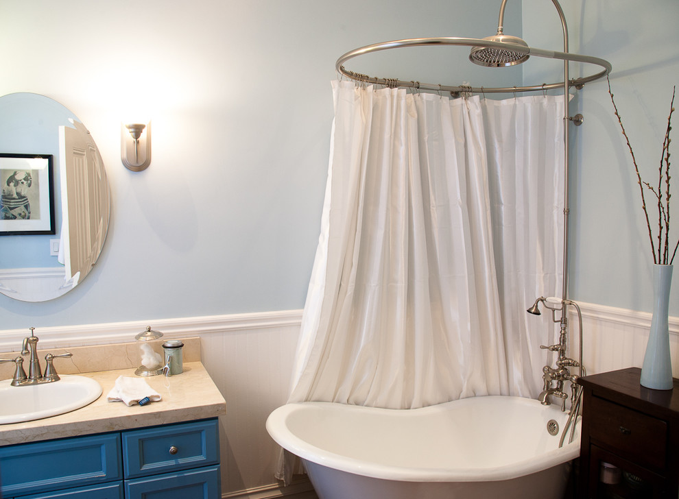 Round Shower Curtain Rod Bathroom Eclectic with Bath Blue Blue Paint Blue Vanity Clawfoot Tub Faucet Oval Mirror Rain