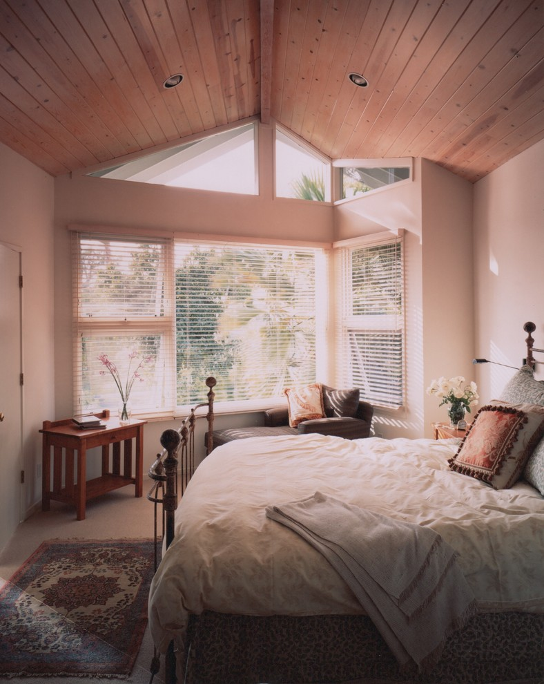 Round Storage Ottoman Bedroom Contemporary with Bedding Contemporary Home Remodel Light Filled Second Storey Windows Wood Ceiling Wood