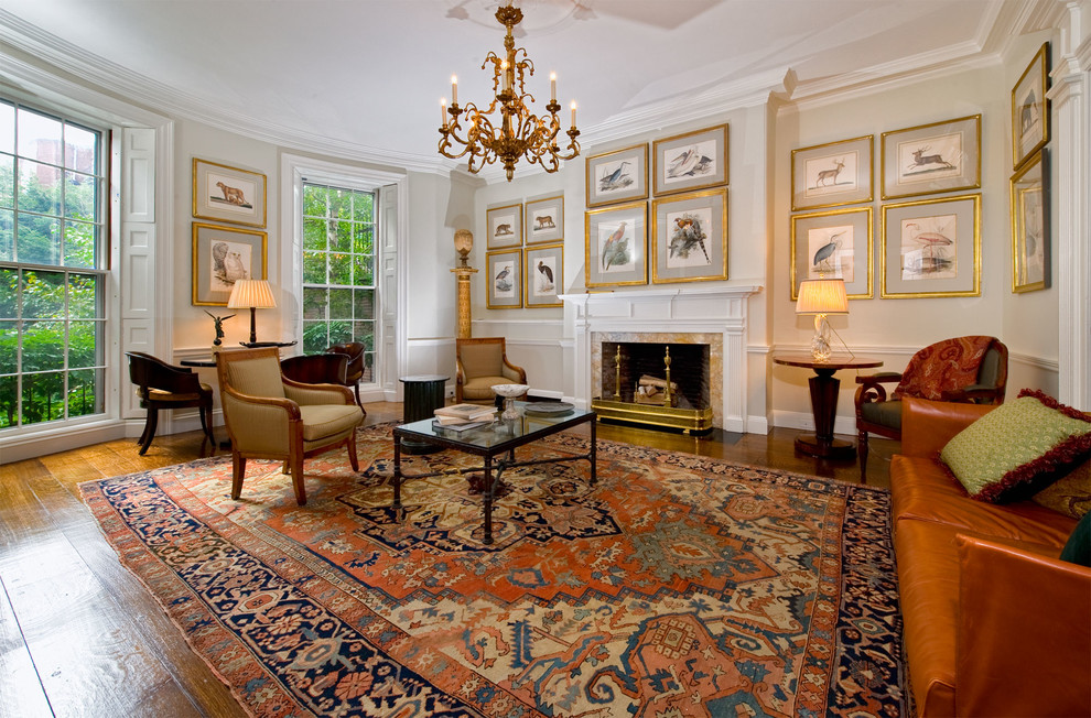 Rubber Backed Rugs Living Room Traditional with Antique Oriental Rug Chair Rail Chandelier Crown Molding Fireplace Gilt Frames Living