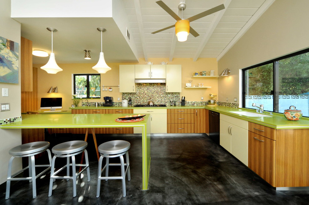 Rubber Spatula Kitchen Contemporary with Breakfast Bar Colorful Kitchen Eat in Kitchen Green Countertops Island Lighting Kitchen