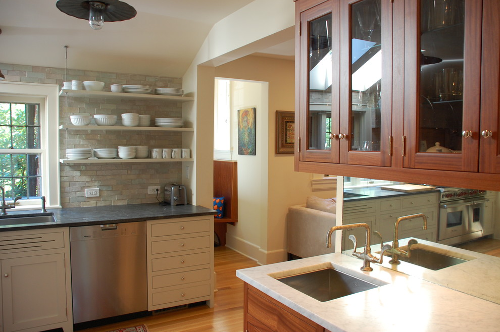 Rubbermaid Wire Shelving Kitchen Traditional with Butler Pantry Footed Cabinets Glass Front Cabinets Kitchen Shelves Mirror Backsplash Neutral