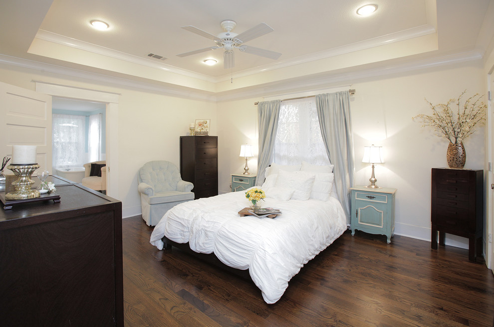 Ruched Bedding Bedroom Transitional With Bed Ceiling Fan Ceiling Lights   Corner Cabinet Crown Molding Curtain Doorway Dresser