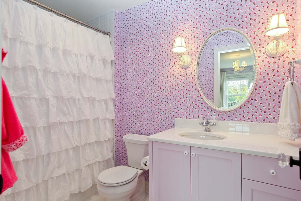 Ruffle Curtains Bathroom Shabby Chic with Oval Mirror Pink Cabinets Pink Vanity Purple Bathroom Purple Cabinets Romantic Shower