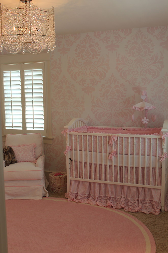 Ruffled Crib Skirt Kids Transitional with Crystal Chandelier Damask Painted Walls Nursery Pink Ruffled Crib Skirt White Nursery
