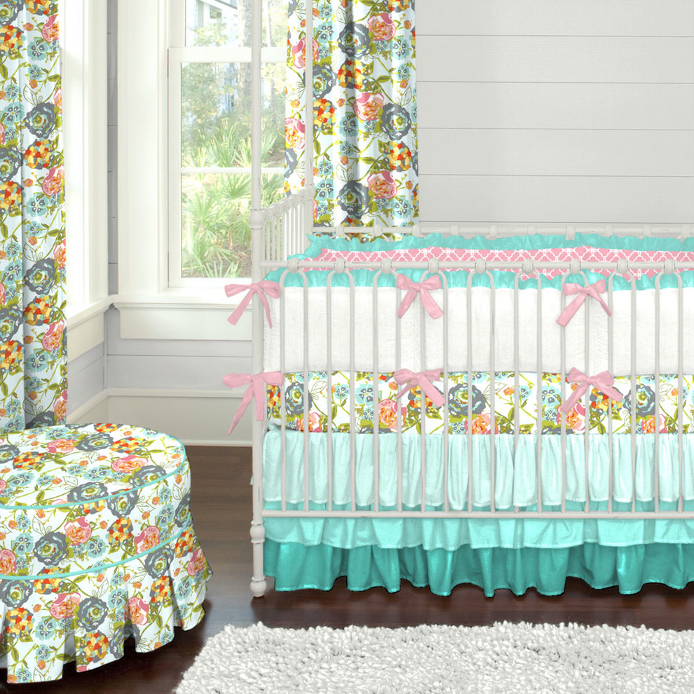 Ruffled Crib Skirt Nursery Contemporary with Aqua Floral Girl Girl Crib Bedding Girl Nursery Modern New Arrivals Ombre