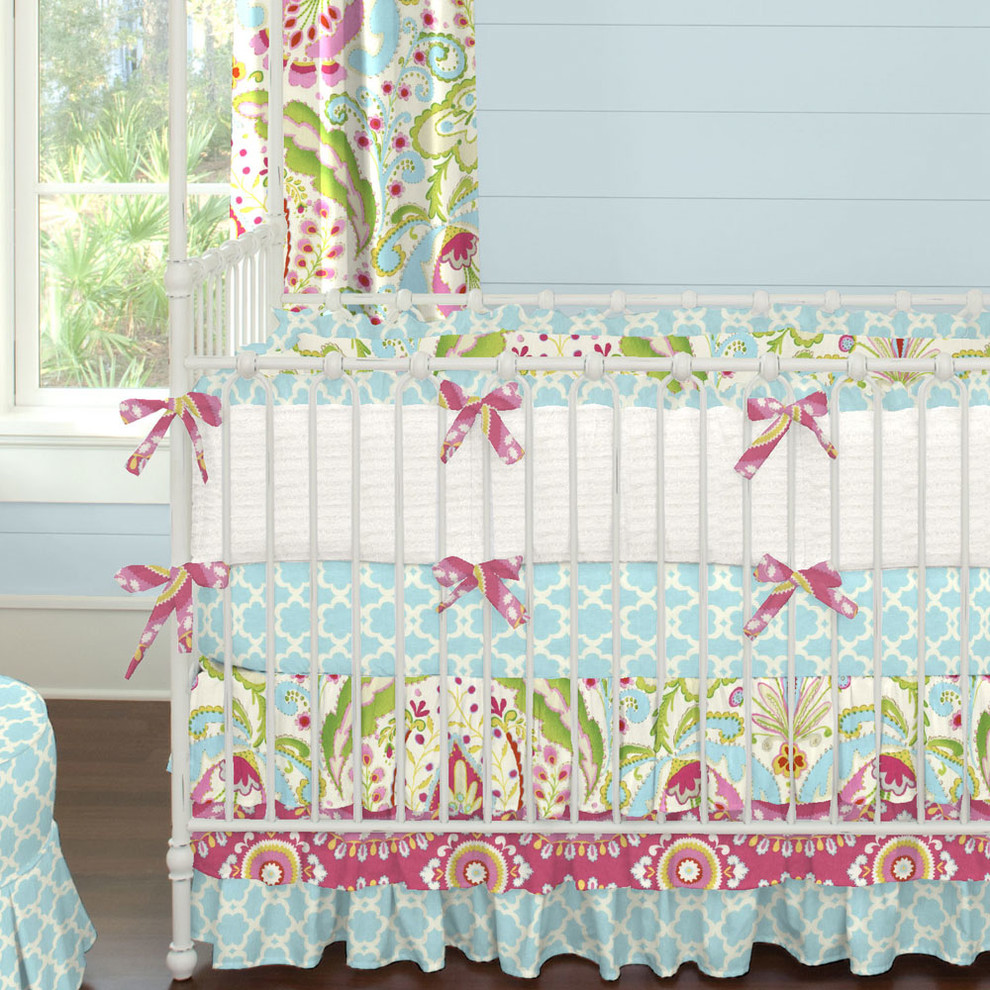 Ruffled Crib Skirt Spaces Contemporary with Aqua Blue Chic Designer Discount Floral Girl Girl Baby Bedding Girl Crib
