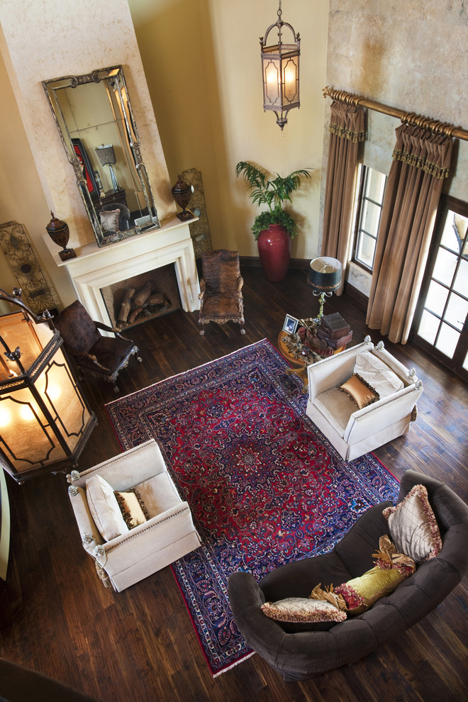Rug Pads Living Room Traditional with Brown Sofa Dark Wood Floors Fireplace French Doors Heavy Drapes Lantern Large