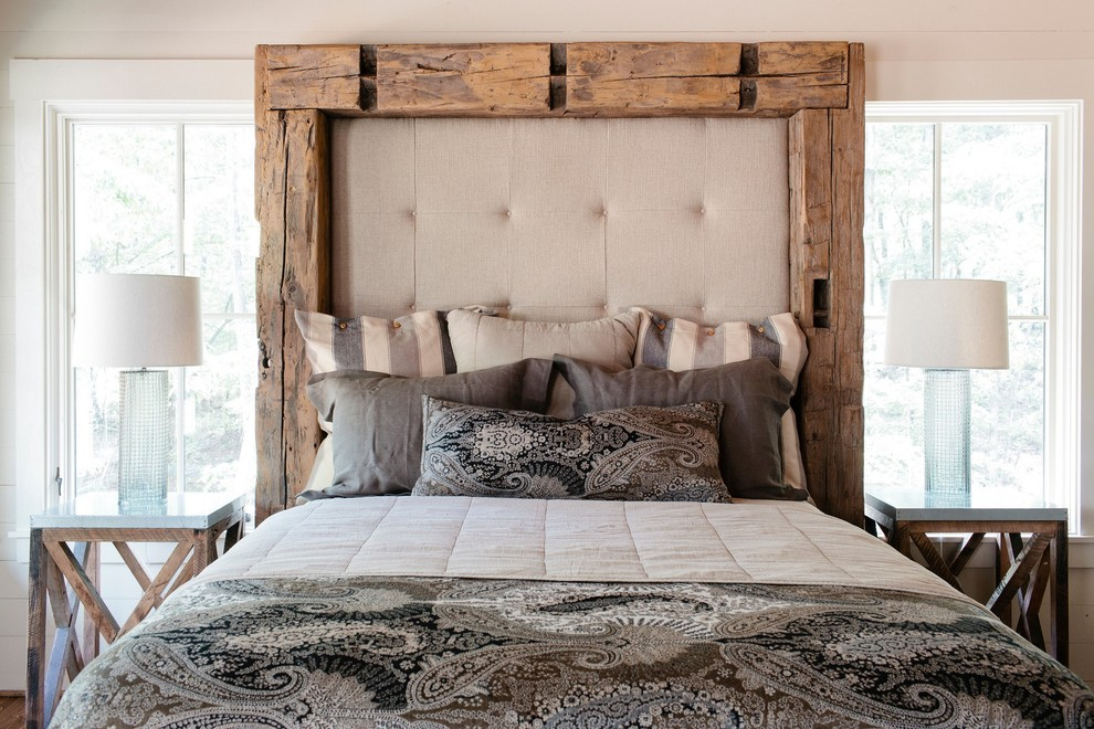 Rustic Bed Frames Bedroom Rustic with Glass Lamp Base Natural Lighting Neutral Colors Padded Headboard Paisley Print Russell