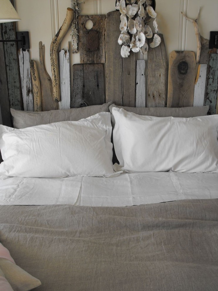 Rustic Headboard Bedroom Rustic with Diy Driftwood Grey Duvet Linen Minimal Neutral Colors Reclaimed Furniture Rustic Salvaged