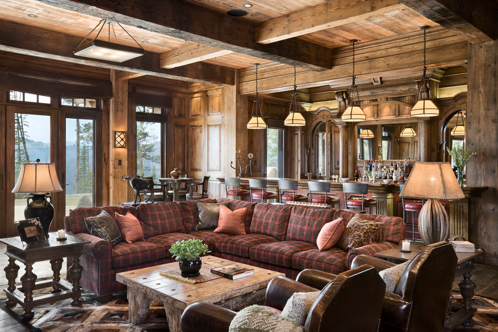 Rustic Lighting Fixtures Family Room Rustic with Bar Family Room Island Pendants Lighting Paneled Walls Plaid Sectional Sofa Plaid