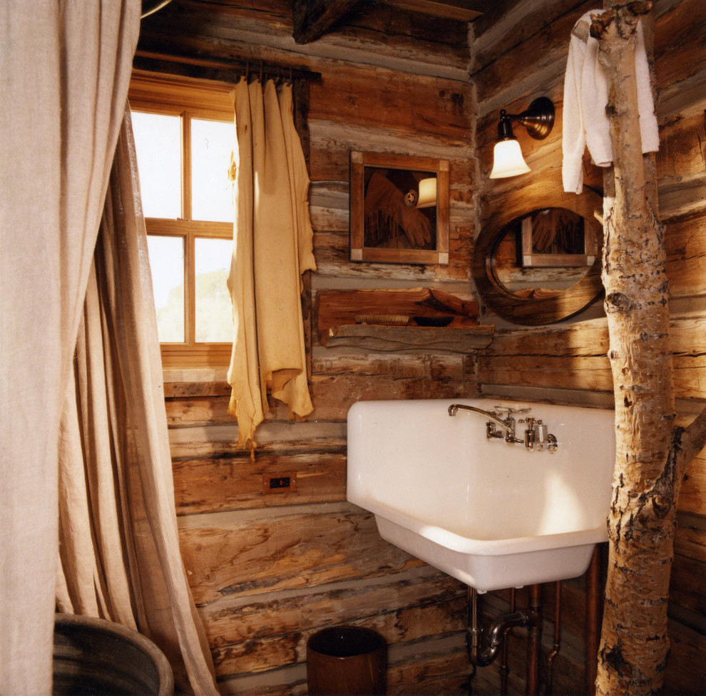 Rustic Wall Sconces Bathroom Rustic with Bathroom Bucket Sink Cabin Candace Miller Architects Chinking Corner Sink Curtain Panel