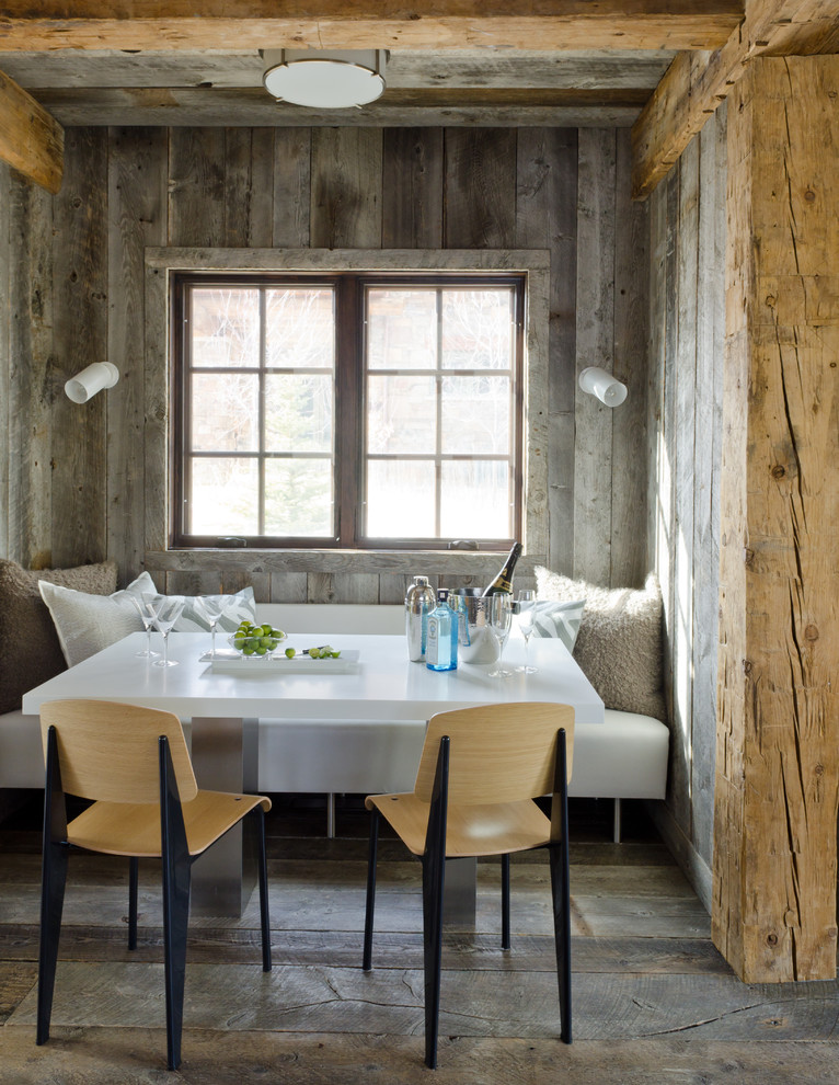 Rustic Wall Sconces Kitchen Rustic with Banquette Seating Ceiling Light Exposed Wood Beams Rustic Wall Sconces White Bench