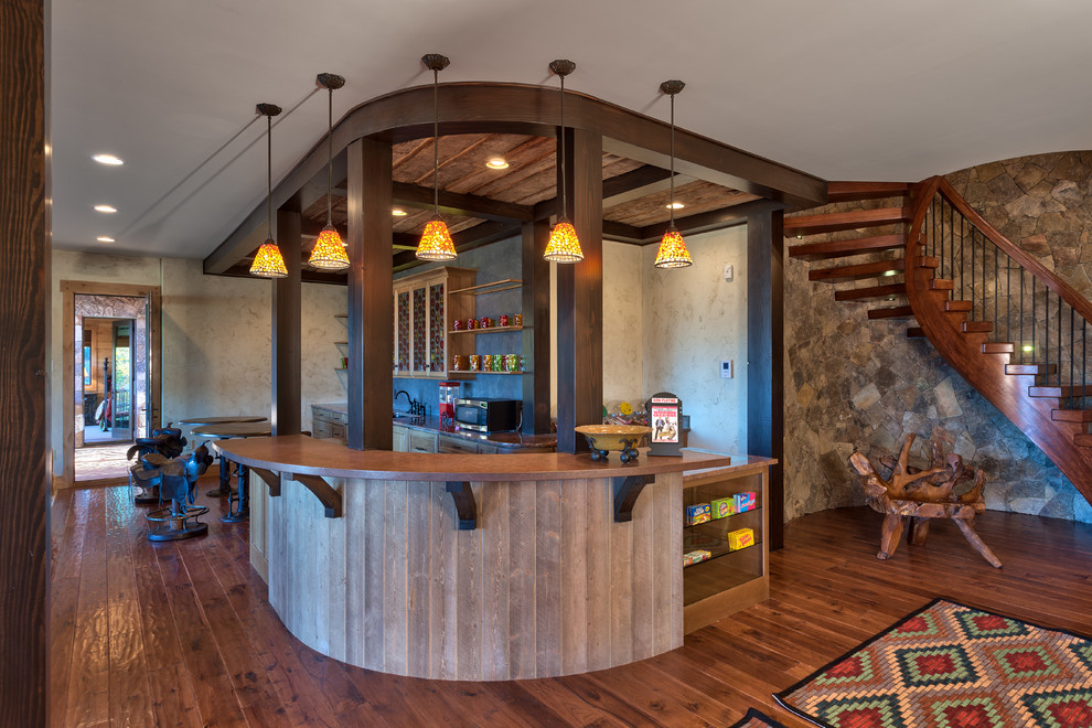 Saddle Bar Stools Basement Rustic with Bar Area Barn Wood Knee Wall Curved Bar Curved Staircase Custom Candy