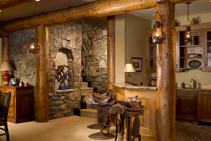 Saddle Seat Bar Stool Home Bar Rustic with Art Niche Custom Cabinetry Saddle Seat Bar Stools Stone and Logs Wet