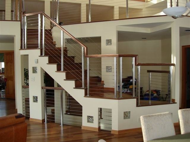 Saddle Stool Staircase Contemporary with Cable Railing Railing