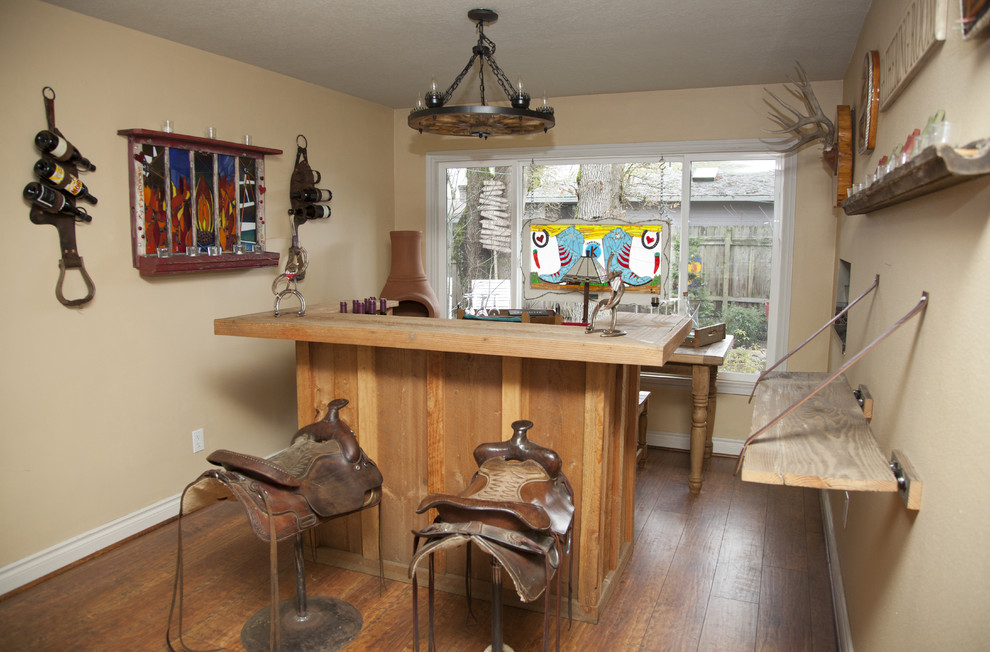 saddle stools Home Bar Eclectic with antlers bar base board beige chandelier chimney flu home bar horse saddles