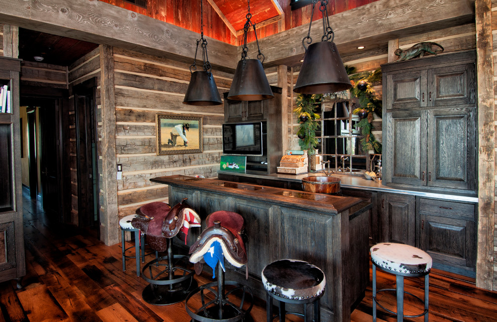 Saddle Stools Home Bar Rustic with Bar Barnwood Brown Cabin Chinking Earth Tones Home Bar Island Old Pendant