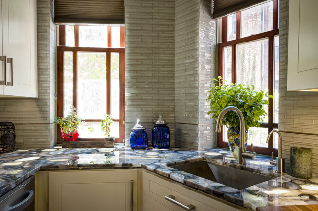 Saddle Stools Kitchen Contemporary with Agate Stone Artistic Tile Floor Tile Glass Tile Natural Stone Small Kitchen