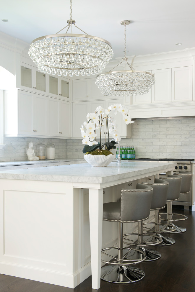 safavieh Kitchen Transitional with 2 Chandeliers bling lighting comfortable luxury gray bar stools Modern Luxe quiet