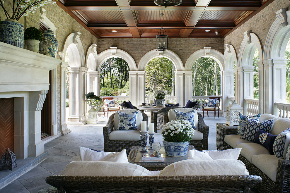 Safavieh Furniture Patio Traditional with Arches Coffered Ceiling Country English Long Island Manor Old World Charm Tudor