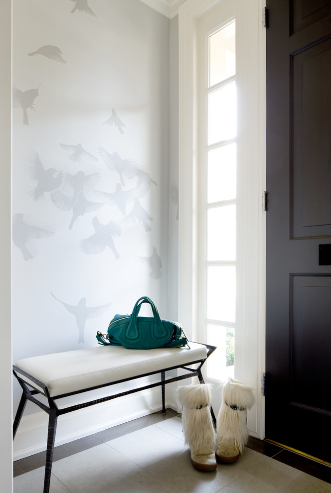 Samsonite Briefcase Entry Transitional with Bird Wallpaper Black Door Entry Bench Entry Decor Entry Seating Snow Boots