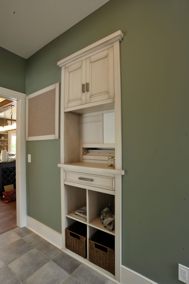 Samsonite Briefcase Laundry Room Contemporary with Baseboards Built in Desk Built in Storage Bulletin Board Cubbies Green Walls