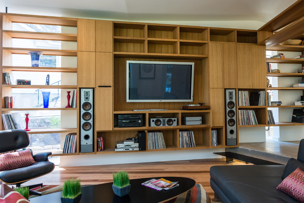 sanus speaker stands Family Room Modern with albums built-in shelves diagonal floor planks eames coffee table Eames Lounge Chair