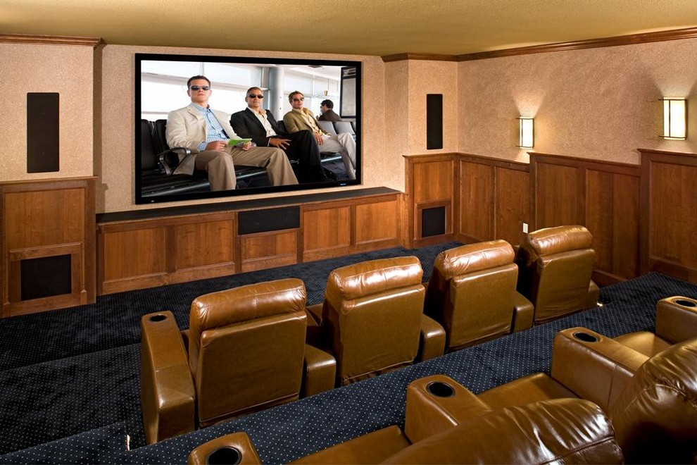 s-speaker-stands-Home-Theater-Traditional-with-beautiful-blue ... on
