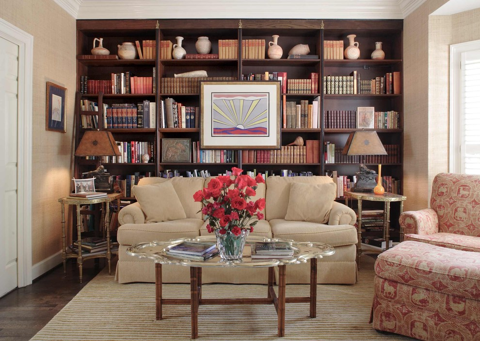 Sauder Bookcases Family Room Traditional with Area Rug Artwork Beige Bookcases Built in Bookshelves Dark Stained Wood Grasscloth Library