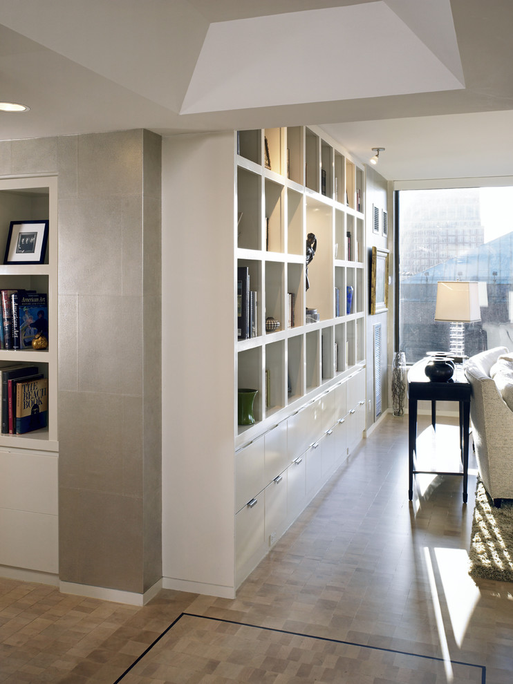Sauder Bookcases Hall Contemporary with Bookshelves Console Table Large Window Recessed Lighting Storage Table Lamp