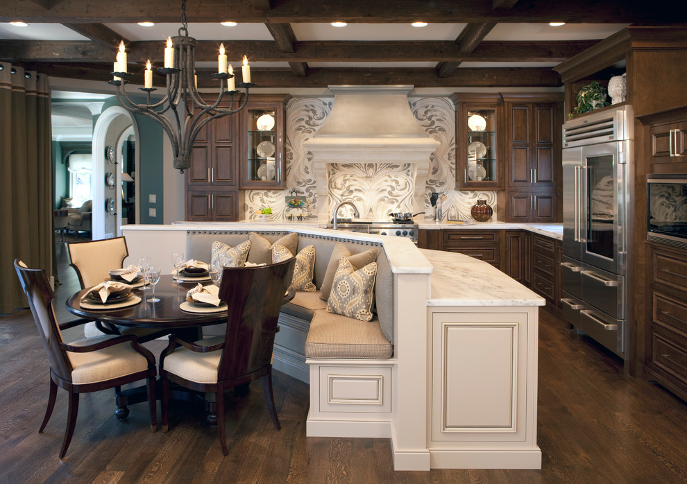 Sauder Com Kitchen Traditional with Banquette Seating Chandelier Custom Backsplash Dark Stained Wood Hood Kitchen Island Marble