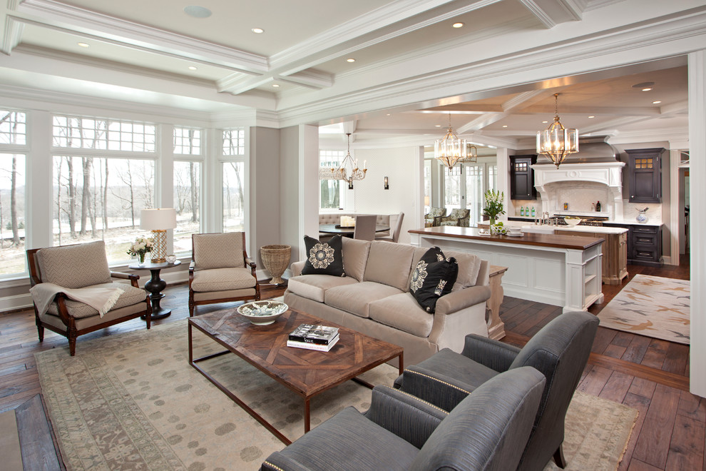 sauder com Living Room Traditional with area rug breakfast nook coffered ceiling dark stained wood Hendel Homes hood