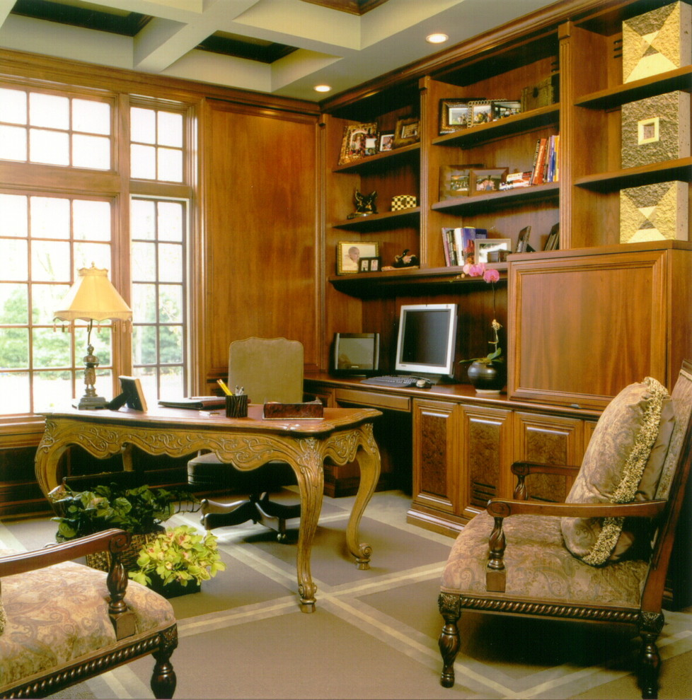Sauder Computer Desk Home Office Traditional with Bookcase Bookshelves Built Ins Ceiling Lighting Coffered Ceiling Decorative Pillows Desk Accessories