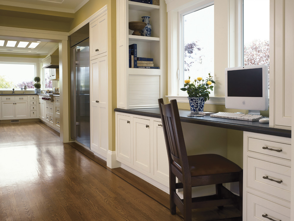 Sauder Computer Desk Kitchen Traditional with Black Chair Black Counter Book Shelves Brown Desk Area Drawers File Cabinet