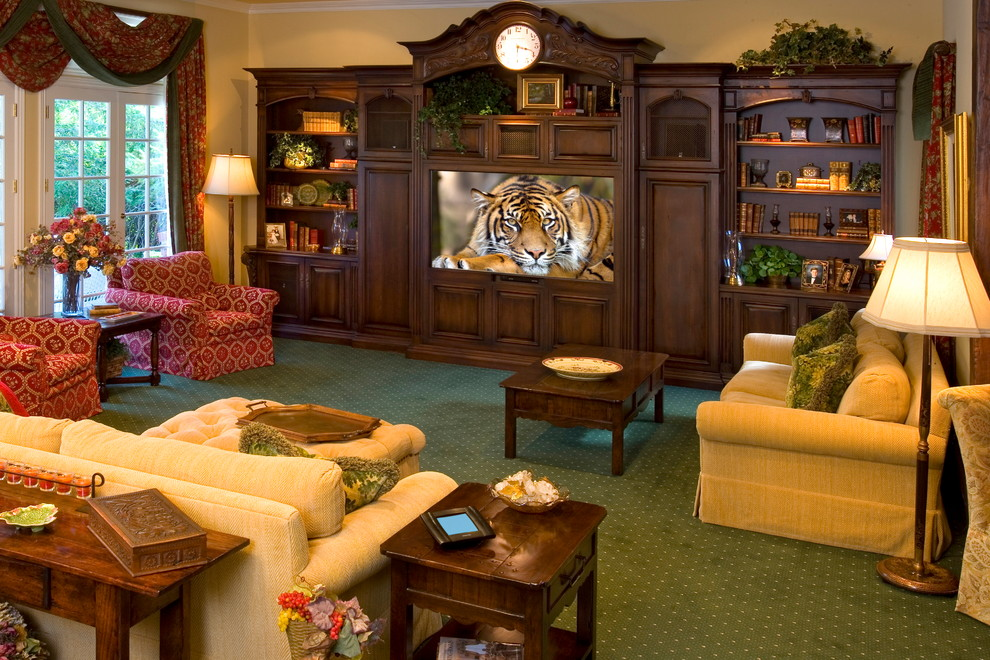 Sauder Entertainment Center Home Theater Traditional with Armchair Big Screen Bookcase Built by Bliss Home Theaters Automatio Cinema Coffee