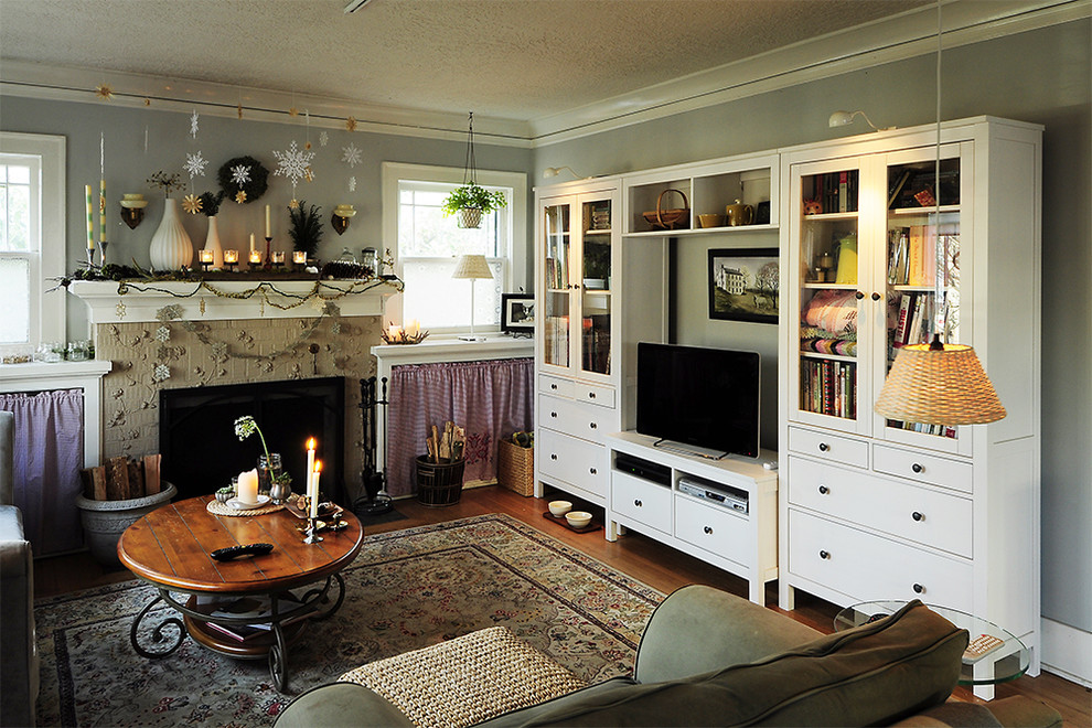 Sauder Entertainment Center Living Room Eclectic with Area Rug Christmas Decorations Crown Molding Fireplace Mantel Fireplace Surround Holiday Decorations