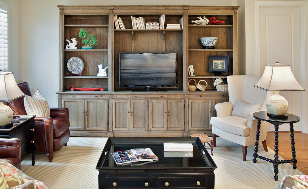 Sauder Entertainment Center Living Room Traditional with Accessories Area Rug Black Coffee Table Book Shelves Bookcase End Table Entertainment