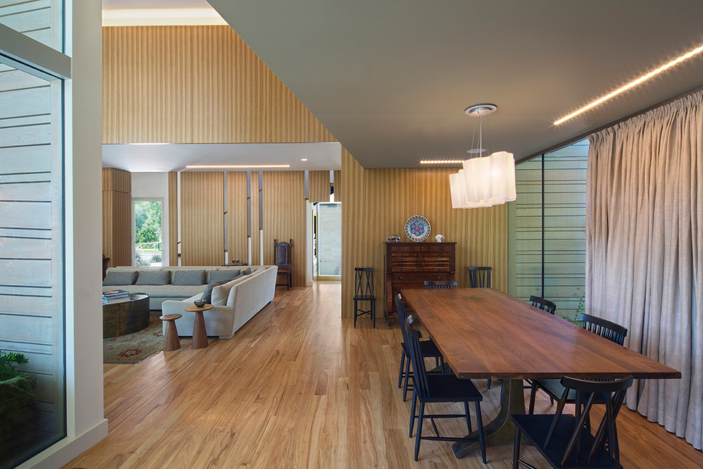 Sauder Shoal Creek Dining Room Modern with Black Dining Chairs Ceiling Lighting Curtain Expressionism Floor to Ceiling Window Functionalism
