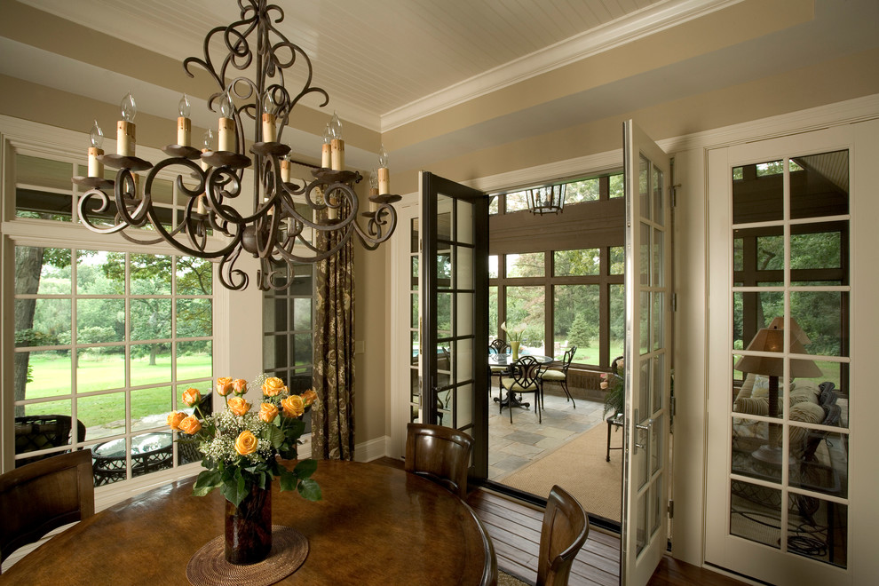 Savoy Lighting Dining Room Traditional with Beige Door Trim Beige Wall Beige Window Trim Brown Patterned Curtain Covered