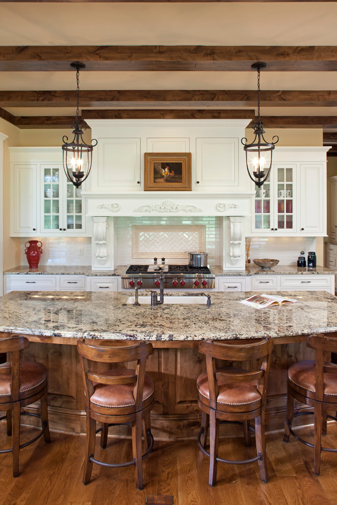 Savoy Lighting Kitchen Traditional with Beams Carved Wood Chandelier Corbels Enameled Granite Hood Informal Dining Island Kitchen