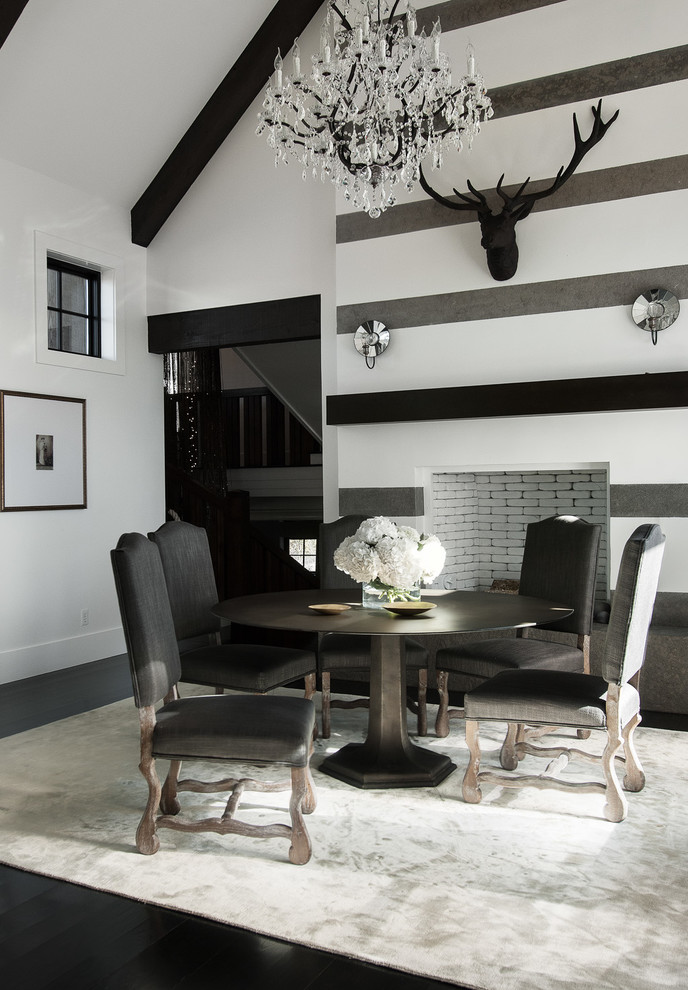 Schiek Belt Dining Room Contemporary with Antlers Beams Black and White Centerpiece Crystal Chandelier Dining Table Flowers Gray