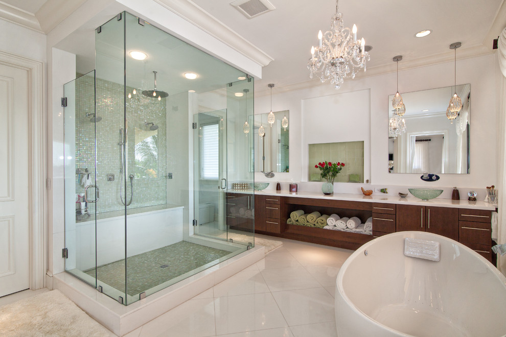 schonbek Bathroom Transitional with bathroom mirror ceiling lighting chandelier crown molding flat-panel cabinets freestanding bathtub glass