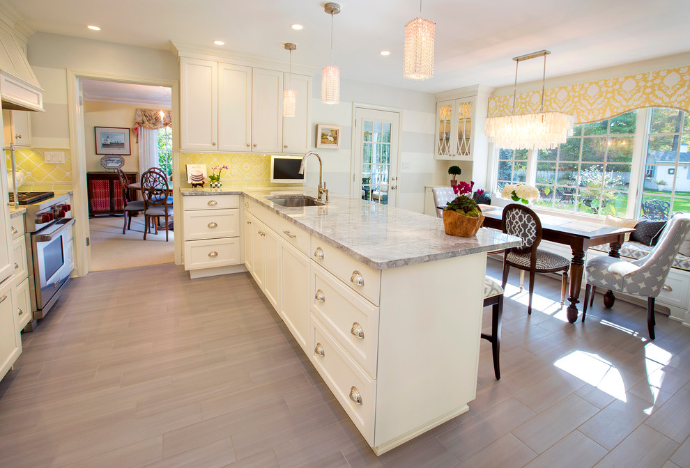 Schonbek Kitchen Transitional with Breakfast Nook Chandelier Cup Pulls Drawer Hardware Eat in Kitchen Floral Cornice Gray
