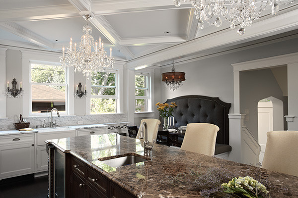 Schonbek Chandelier Kitchen Traditional with Banquette Booth Chandeliers Island Kitchen Marble White Cabinets 1