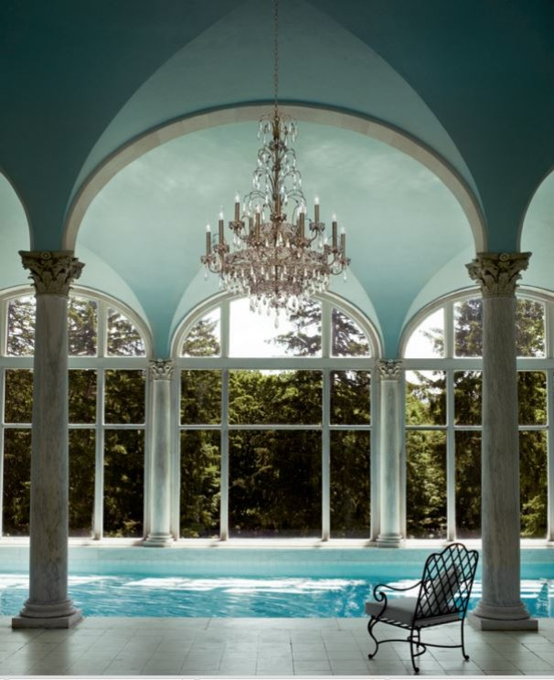 Schonbek Lighting Pool Traditional with Schonbek Ekaterina Chandelier