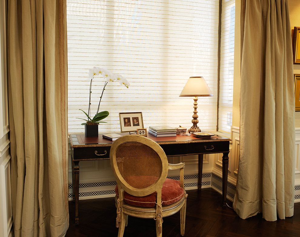 School Desks for Sale Living Room Traditional with Alcove Bay Windows Conrad Woven Shades Curtains Dark Floor Desktop Drapes French