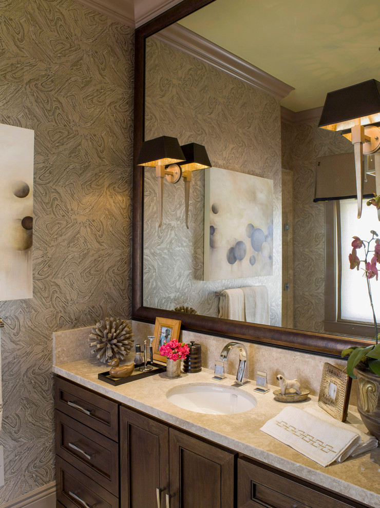 Sconce Shades Bathroom Eclectic with Black Sconce Shade Large Mirror Malachite Orchid Sconce Stone Counter Wood Framed