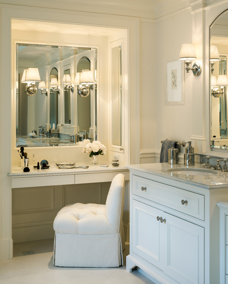 Sconce Shades Bathroom Traditional with Bath Tub Blue Tile Double Sink Double Vanity Dressing Table Faucet Glass
