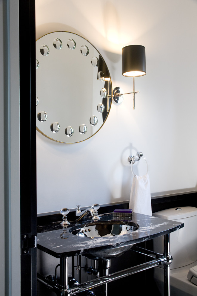 Sconce Shades Powder Room Transitional with Bathroom Mirror Black and White Chrome Contrast Marble Masculine Neutral Colors Round