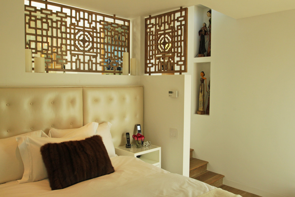 Screen Dividers Bedroom Eclectic with Alcoves Artwork Bed Fretwork Headboard Night Stand Partition Pillows Steps Tufted Leather